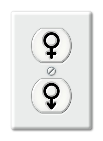 Illustration of an electrical outlet with symbols for male and female