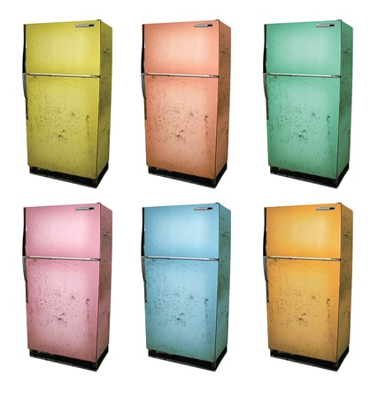 Six color versions of an old refrigerator