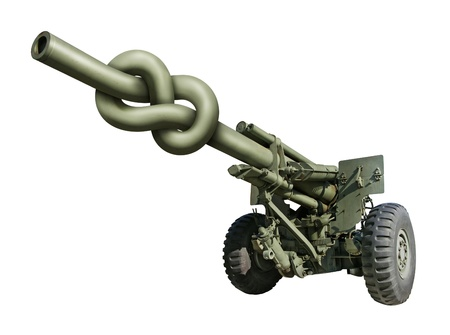 barrel bomb: Photo-illustration of an old artillery gun with the barrel tied in a knot
