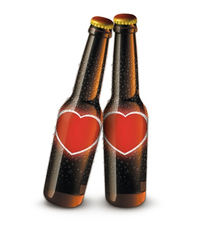 Digital illustration of beer bottles with blank heart labels  Stock Photo