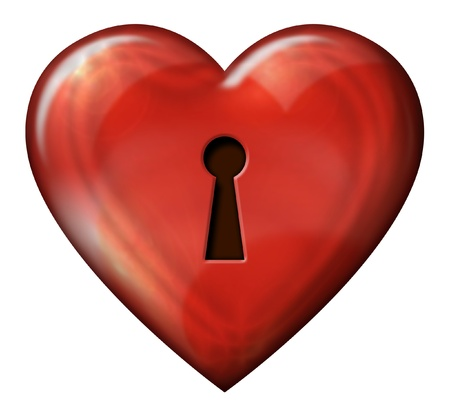 Digital illustration of heart shaped lock