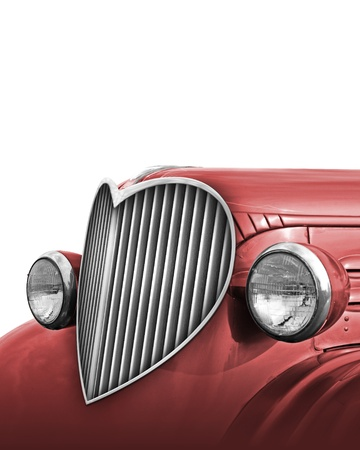 Photo-Illustration of an old car with the grille retouched into the shape of a heart  Includes  to place it on top of another image or background  illustration