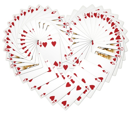 My illustration of heart playing cards fanned in a heart shape.