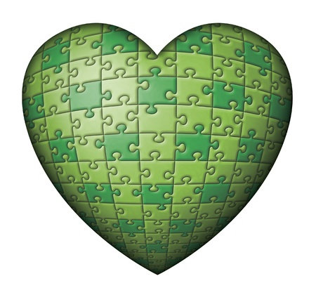 Digital illustration of a green heart shaped puzzle. illustration