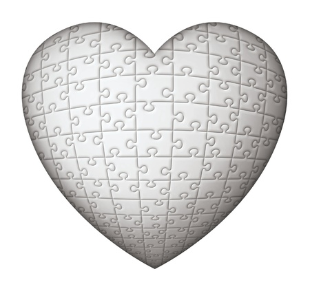 Digital illustration of a heart shaped puzzle. Stock Photo