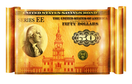 Photo Illustration of a U.S. Savings Bond retouched and re-illustrated to create a gold banner. Stok Fotoğraf