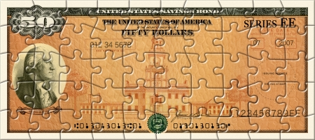 Photo Illustration of a U.S. Savings Bond retouched and re-illustrated as a 50 piece puzzle.