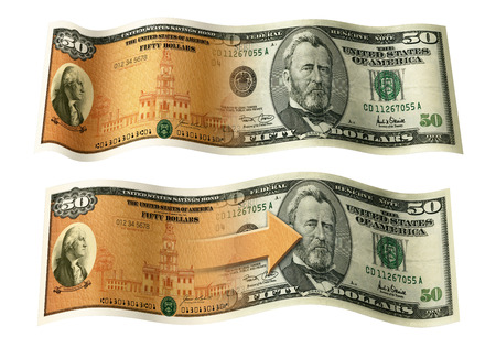 50 dollar bill: Photo Illustration of a U.S. Savings Bond and a 50 dollar bill composited together.