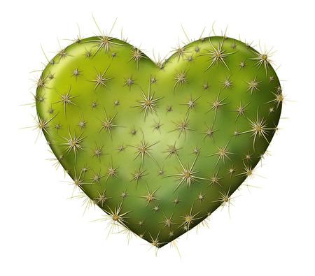Digital illustration of a heart shaped prickly pear cactus.
