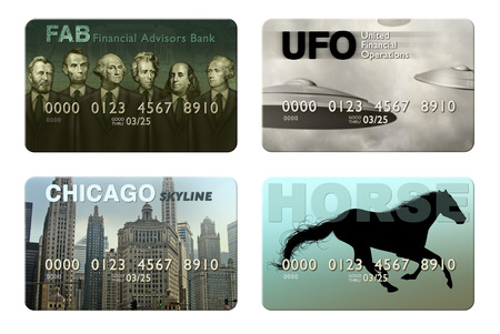 Photo illustration of four imaginary credit cards.