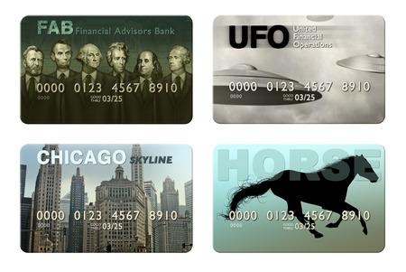 Photo illustration of four imaginary credit cards. Stock Illustration - 24138302