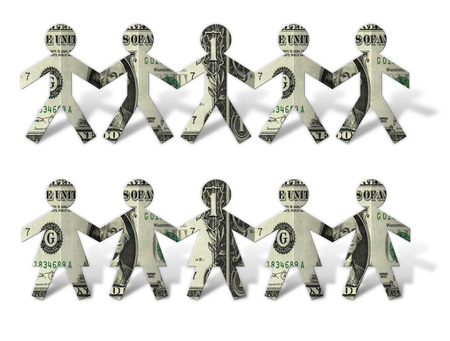 Photo-illustration of paper dollar cutouts. Stock Photo
