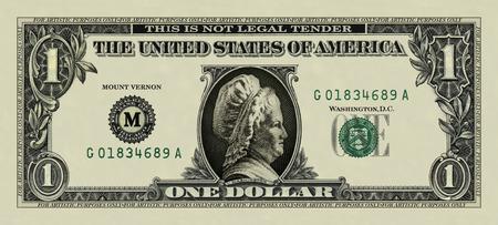 martha: Photo illustration of a dollar bill substituted with Martha Washington Stock Photo