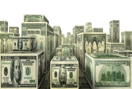 Photo-illustration of city made out of U.S. currency.