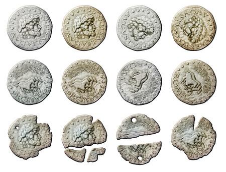 augustus: Digital illustration of ancient Roman coins.