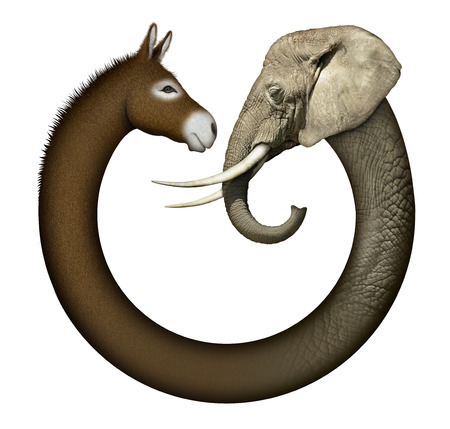 Digital and photo illustration of a donkey and elephant, representing democrats and republicans confronting each other  Stock Photo