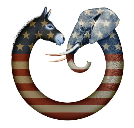 デジタルとロバと象、民主党と共和党が互いに向かい合うを表すの写真・ イラスト