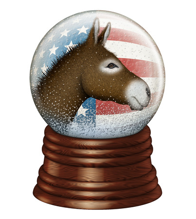 snowdome: Digital illustration of a snow globe containing stars and stripes and a donkey to represent the Democrat party