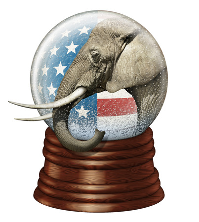snowdome: Digital illustration of a snow globe containing stars and stripes and an elephant to represent the Republican party