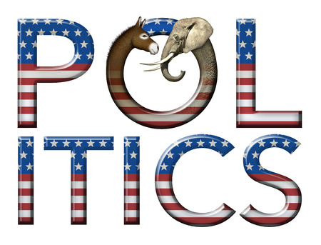 Digital and photo illustration of the word Politics with stars and stripes as well as a donkey and elephant head to represent democrats and republicans