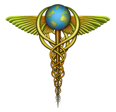 Digital illustration of a Caduceus, a symbol of medicine, designed to represent the idea of a worldwide Single Payer healthcare system and the many tentacles of influence. good or bad, that would involve. illustration