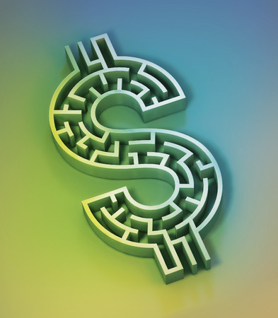 Illustration d'un labyrinthe en forme de signe dollar. Banque d'images - 29356686