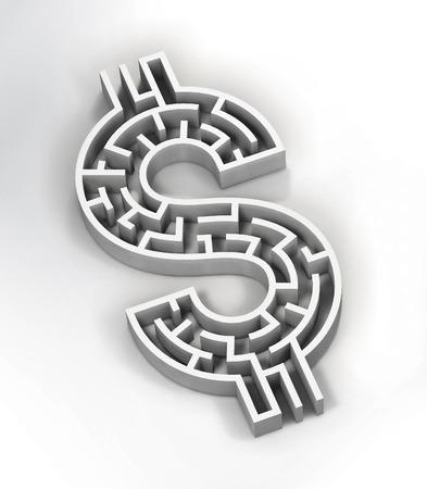 Illustration d'un labyrinthe en forme de signe dollar. Banque d'images - 29356689