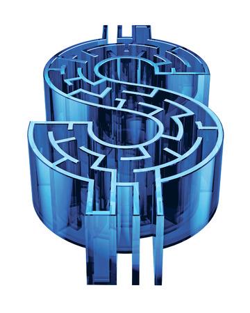 Illustration d'un labyrinthe en forme de signe dollar. Banque d'images - 29356691