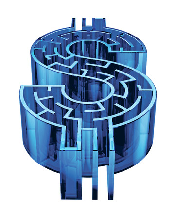 Illustration of a maze shaped like a dollar sign. Stock Photo