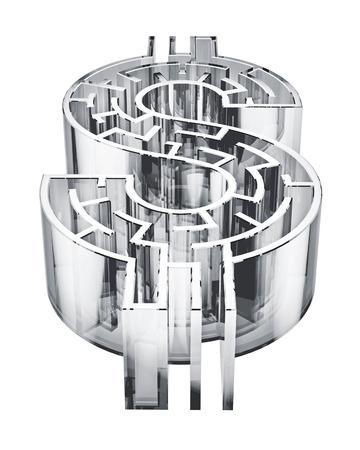 Illustration d'un labyrinthe en forme de signe dollar. Banque d'images - 29356692