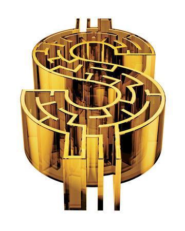 Illustration d'un labyrinthe en forme de signe dollar. Banque d'images - 29356693