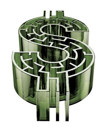 Illustration d'un labyrinthe en forme de signe de dollar. Banque d'images - 29356695
