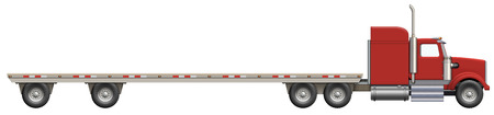 flatbed truck: Illustration of a flatbed truck. The bed is empty and ready for your creative ideas.