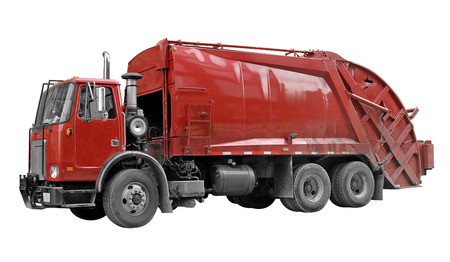 Garbage truck with all logos and signage removed. A clipping path is included.  photo