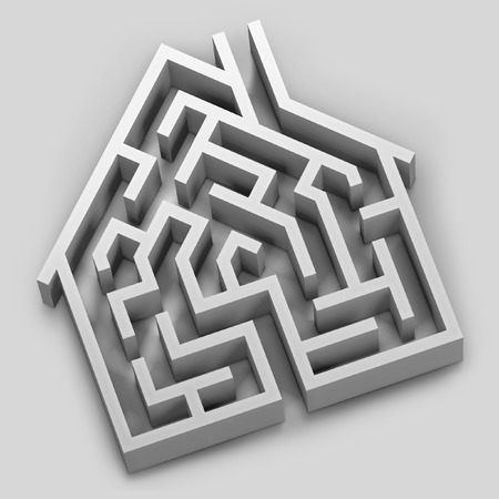 Digital illustration of a maze in the shape of a house. illustration
