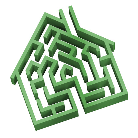 Digital illustration of a maze in the shape of a house.
