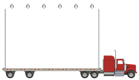 flatbed truck: Illustration of a flatbed truck carrying a billboard. Stock Photo