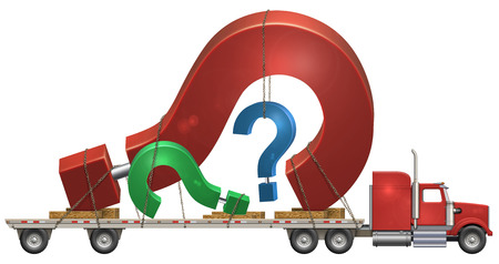 flatbed truck: Illustration of a flatbed truck carrying question marks.