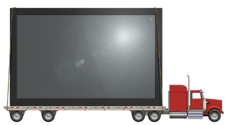 Illustration of a flatbed truck carrying a flat screen television.    Stock Photo