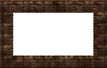 bolted: Photo illustration of a rusty metal riveted wall with a clipping path to create a frame. Stock Photo