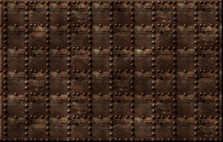 bolted: Photo illustration of a rusty metal riveted wall.