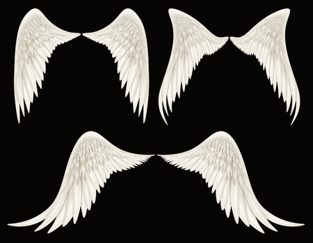 Digital illustration of angel wings. A Clipping Path is included. They are ready to be composited with other images. Zdjęcie Seryjne