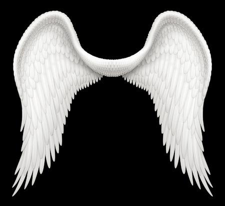 天使の翼のデジタル イラストレーション。クリッピング パスを含むその他の画像と合成する準備ができてです。