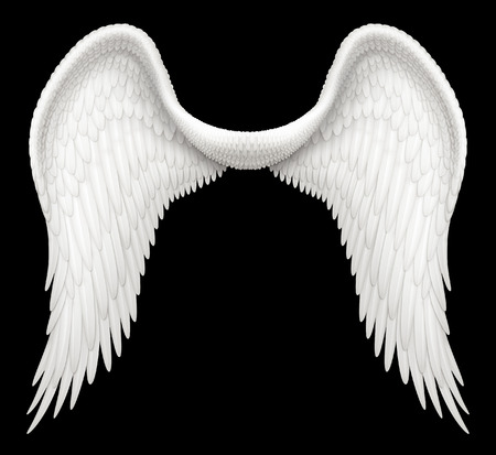 Digital illustration of angel wings. Including a Clipping Path, it is ready to be composited with other images.