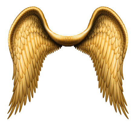 天使の翼のデジタル イラストレーション。クリッピング パスと白で隔離された、彼らは他の画像と合成する準備ができています。