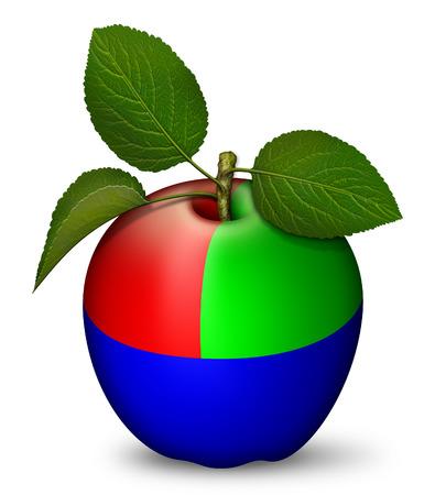 Digital illustration of an apple as a RGB key.