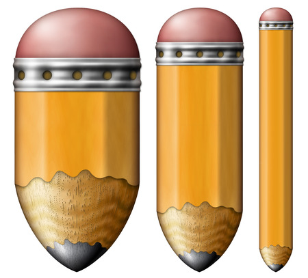 Illustration of pencils with rounded points and erasers.