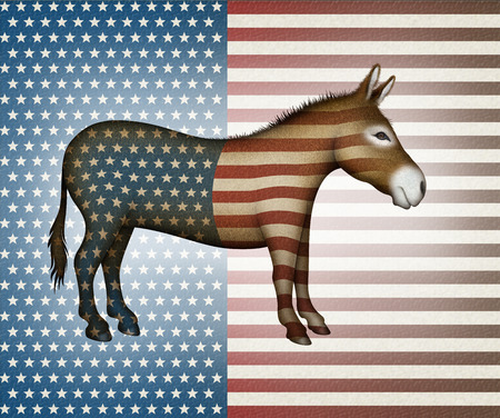 donkey ass: Digital illustration of a donkey overlayed with stars and stripes — side view. Stock Photo