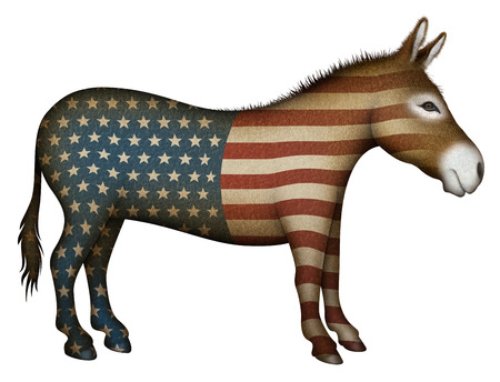 Digital illustration of a donkey overlayed with stars and stripes — side view.