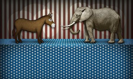burro: Burro y el elefante frente apagado en un escenario patriótico, en representación de los partidos demócrata y republicano. Blanca bloqueó siguiente espacio para el texto que se añade. Foto de archivo